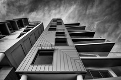 Nirvana Apartments (Explored) (Scott Baldock Photography) Tags: sea england blackandwhite bw building architecture modern mono seaside apartments nirvana estuary esplanade western leigh essex leighonsea southend lightroom westcliff southendonsea leas southchurch chalkwell