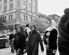 not too close (minus6 (tuan)) Tags: street bw canada montreal scarves ruesaintecatherine minus6