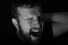54/365 (light crayon) Tags: portrait people man black blackbackground self 50mm blackwhite sony gimp sleepy tired 365 alpha yawning a390 flickr365 sal50f18