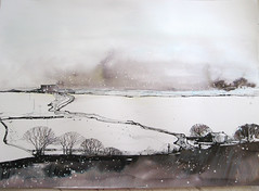 Weets from Gisburn Track (skyeshell) Tags: trees winter snow painting landscape lancashire fields blizzard inks snowscene barnoldswick weetshill roughwatercolourpaper gisburntrack