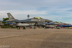 F-16A MLU Fighting Falcon, RNLAF, RAF Coningsby (harrison-green) Tags: typhoon t3 raf coningsby eurofighter euro fighter plane aircraft jest fast royal air force shelter as night outdoor light blue airplane vehicle sigma 18250mm canon eos 700d shgp steven harrisongreen jet tornado gr4 panavia fgr4 netherlands luchtmachtdagen viper sunset evening dark