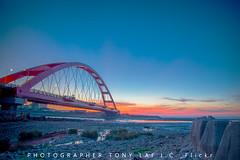 Scenary 1st_012 (TONY LAI J.C.) Tags:    evening  dusk   orange sun sunset   summer landscape     sea  bridge   harbor port   taoyuan taiwan nikon nikkor dslr d610