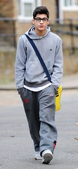 (One Direction Archive) Tags: funnyface walking grey glasses hoodie fulllength trainers nike zane battersea tracksuit rehearsals hooded handsinpockets bagstrap yellowbag onedirection nikehoodie tracksuitbottoms joggingbottoms xfactorfinalists