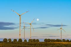 Wind turbines & full moon (Martin von Ottersen) Tags: windturbine fullmoon windrad vollmond sunset light abendlicht sel70300g