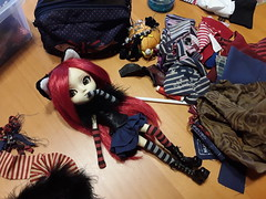 Fake in progress (Lunalila1) Tags: doll junplaning pullip grell fake outfit cat alice neko costura