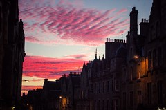 Red sky and chimneys (elizunseelie) Tags: sunset sky clouds edinburgh scotland scottish rooftops roof cloudy pink red scarlet evening night tranquil colourful colorful vibrant silhouette architecture old town historic historical