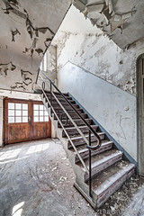 Industrial office stairs (ZerberuZ1) Tags: urbex ue urban exploration decay decayed derelict abandoned stairs treppe escalier security canon eos 5d markii 5dmarkii manfrotto samyang 14mm hdr dri fine art photography photographie fotografie zerberuzcom dahn jeanclaude luxembourg fineart