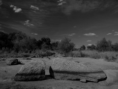 Return of the Drought (Elmore Dodge) Tags: dry drought rocks contrast view clouds bw