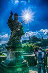 Verteidiger des Glaubens - Defender of faith (ralfkai41) Tags: fortressmarienberg sword burg himmel festung schwert wrzburg hdr festungmarienberg fortress statue sun bavaria sky bayern sonne faith glaube