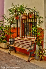 Casco Antiguo de Calpe (Costa Blanca Photography) Tags: calp calpe bench old town plants plantpots pots plant spanish typical scene village inland traditional