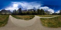 Yosemite Walking Tracks (Serendigity) Tags: trees usa 360 yosemite alpine nationalpark mountains equirectangular pathways unitedstates panorama california clouds yosemitevalley us