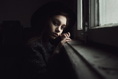 Anna (ivankopchenov) Tags: girl portrait cute canon beautiful natural naturallight model mood melancholy sadness sorrow people face dark fineart soft shadow noir light eos young lonely hair warm sensual gentle windows window indoor cinematic hat
