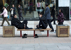 Tired Chinese Men Sit On A Bench, Beijing, China (Eric Lafforgue) Tags: china street travel people color colour shop horizontal contrast bench outside person shoe shoes asia sitting outdoor chinese beijing tired sit heat barefoot rest resting 中国 relaxation fatigue groupofpeople kina chin cina exhausted chine xina 中國 sportshop shoppingstreet eastasia 중국 pekin realpeople tiongkok الصين chiny סין kína çin fulllenght colorpicture wangfujingstreet китай 中華人民共和国 trungquốc čína چین จีน kitajska tsina चीन չինաստան ჩინეთი כינע κίνα mg4136 groupofpersons кина