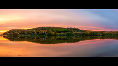 Fall Indian Sunset (iFlook) Tags: trees sunset lake water beautiful leaves wisconsin nikon fallcolors pano panoramic madison stitching brightcolors indianlake amazingcolors danecounty d5000 35mmf18g