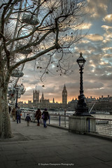 Embankment Sunset (Stephen Champness) Tags: houses winter sunset sky people cold building london eye water thames clouds river big interesting nikon parliament southbank adobe hdr embankment lightroom nikond3200 photomatix adobelightroom d3200 interestingd3200