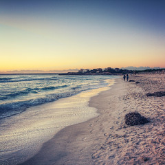 Es Trenc Beach ( MaNurs) Tags: trip sky beach water sunrise walking atardecer spain sand couple waves pareja playa arena mallorca majorca caminando estrenc