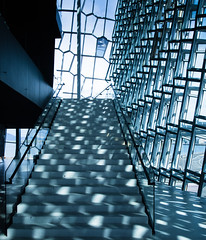 Harpa (jonas_k) Tags: blue light building architecture modern island licht iceland opera stair centre capital reykjavik treppe convention architektur glas olafureliason harpa