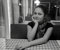 Monalisa Smile (saudades1000) Tags: portrait blackandwhite girl beautiful smile scarf cafe adolescente teen garota sorriso charming menina fille pretoebranco sentimental younglady languida