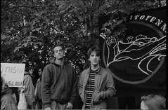 013-018-3 (Ari and the bear) Tags: street bw film analog montreal canona1 kentmere400 occuponsmontreal occupymontreal arianedepalacio