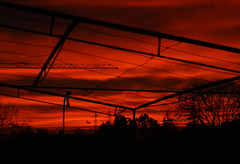 Incantevoli Tramonti (Wrinzo) Tags: sunset red sky italy italia industrial tramonto crane cielo rosso industria marche gru ancona cameratapicena