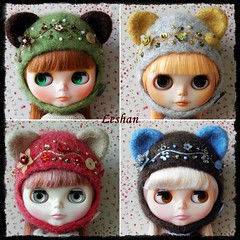 "New ""Kitty Helmets"" Collection (Leshan1) Tags: hat doll crochet blythe leshan rbl feltedhat kittyhelmets blythecrochet leshancrochet"