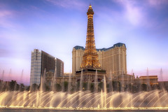 Eiffel Tower Water Show (cstout21) Tags: travel chris vacation usa gambling water night clouds us colorful unitedstates lasvegas nevada eiffeltower landmark casino nv thestrip hdr highdynamicrange stout ngoc parisresort canon60d stoutandstout belliagohotelcasino