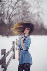 The wind blew my words away from you. (Billijean.) Tags: winter snow cold art girl fashion hair photography long wind picture tights photograph denim billi billijean ralaina
