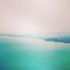 Chicago on Lake Michigan (squarerootofnine) Tags: city chicago square illinois squareformat fromtheair iphoneography instagramapp