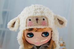 Sheep Hat Lamb Helmet for Blythe Dolls (bobblecakes) Tags: hat sheep crochet lamb blythe crocheted pickle winkle neoblythe