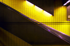 Down IV (derkoensen) Tags: colors yellow stairs jaune germany underground deutschland colours metro cologne kln treppe gelb ubahn escalier farben knig strukturen metroprojekt