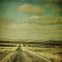 distant tower (jssteak) Tags: road sky tower clouds canon square texas afternoon grunge onthewayhome barren panhandle textured distant 2lane adged t1i