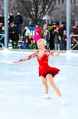Viktoria Helgesson braving the elements (Jens Sderblom) Tags: winter red woman snow ice sports girl sport star vinter dress sweden stockholm outdoor swedish short sverige scandinavia figureskating kungstrdgrden idrott utomhus konstkning d7000 nikon70200vrii