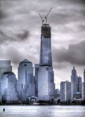 WTC January 2013 (joiseyshowaa) Tags: world park new york city nyc sky ny reflection water skyline river liberty island state manhattan 911 nj center jersey wtc hudson contruction trade hdr scraper thechallengefactory