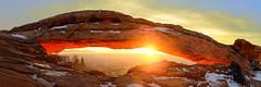 Arch On The Mesa (Damien Seidel) Tags: winter panorama usa snow southwest america sunrise landscape utah nationalpark panoramic canyonlands moab redrock novoflex mesaarch carlzeiss naturalarch distagont235 zf2 nikond800e