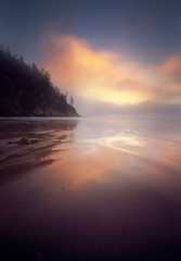 Soft endings to short stories (Zeb Andrews) Tags: sunset film beach clouds oregon analog landscape lofi sunsets pinhole pacificocean pacificnorthwest oregoncoast innova oswaldweststatepark pinscape shortsandsbeach bluemooncamera innova6x9