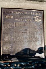 CU225 USS Trigger Plaque (listentoreason) Tags: usa brown color philadelphia metal bronze america canon unitedstates pennsylvania favorites places material pennslanding ef28135mmf3556isusm score25