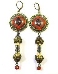 Ancient Romance Series - Scottish Tartans Collection - MacLeod Red with Scottish Thistle Earrings