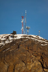 Television Transmitter atop Black Knight Mountain (LongInt57) Tags: blue red sky brown white mountain canada mountains green tower television rock radio volcano tv bc okanagan towers peak valley plug kelowna volcanoes peaks volcanic transmission transmitter mountaintop transmitters volcanoe
