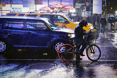 Rain City (Feldore) Tags: street new york city wet rain bicycle square one day cyclist pavement taxi sony driver times cinematic raining courier mchugh pouring downpour rx100 feldore