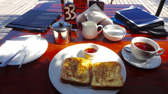 French Toast Breakfast and iPad, Casa Barry's, Tofo, Mozambique (dannymfoster) Tags: africa mozambique tofo restaurant casabarrys food meal breakfast frenchtoast tea