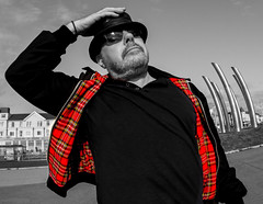 Harrington. Its a tarten thing. (CWhatPhotos) Tags: prom promenade holiday sky skies skys clear day blackpool leather pork pie hat lancs lancashire north photographs photograph pics pictures pic picture image images foto fotos photography artistic cwhatphotos that have which with contain olympus omd em10 mk ii esystem four thirds digital camera lens olympusem10mkii sanyang 75mm 35 f35 fisheye fish eye samyang manual focus wide view 43 fit mft micro harrington jacket