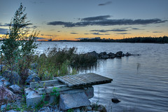 The end of August (Afflicter) Tags: vaasa sunset water sky outdoor wind jetty pier factory powerplant stones hdr 3xp