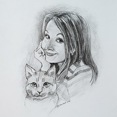 Friendly cartoon - Alyona (Annabelle Danchee) Tags: dancheeannabelle annabelledanchee dancheeannabellesketch paper pencil  people creative art beautiful graphic graphics drawing draw illustration blackandwhite      sketch friendlycartoons caricatures cat pet