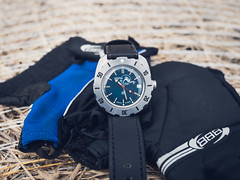 Companion for a ride (Ch4nce) Tags: vostok amphibian watch blue black gloves bike olympus time russian