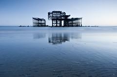 West Pier Blue (steve_thole) Tags: brighton sussex england beach pier blue twilight dusk water sand pebbles reflections reflection