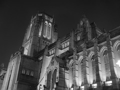 274/365: Liverpool Cathedral (Kelvin P. Coleman) Tags: canon powershot liverpool cathedral church tower urban night hdr 365 bw noiretblanc schwarzweiss blancoynegro outdoor sky