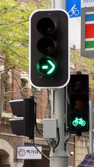 Sydney city NSW Bicycle tracks in roadway 6 (Bicycle track crossing traffic signal) - Sept 2016 (nicephotog) Tags: sydney nsw road city transport green bicycle track traffic signal lights crossing pedestrian