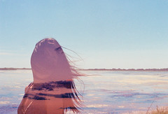 Then You Wake Up (Hayden_Williams) Tags: girl person lady woman figure shadow silhouette water river blue sunset hair wind sky clouds film analog analogue vintage retro asia hipster indie canonae1 fd50mmf18 doubleexposure multipleexposure