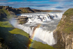 Gullfoss | Explored 12.09.2016 (Maximilian Kau) Tags: canon eos 650d island is iceland gullfoss abend evening raw stm travel traveling water wasser waterfall rainbow regenbogen wasserfall 2016 sommer summer efs18135mm lightroom landschaft landscape outdoor nature natur allesfrdasfoto sky himmel reise trip amazing big foss fluss river golden rnesssla circle schlucht canyon hill hgel berg mountain explored