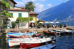 Picture Perfect ........ (acwills2014) Tags: limone italy boats colourful mountains harbourside picturesque lagodigarda